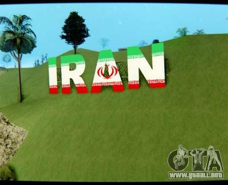 IRÁN es la inscripción Vinewood para GTA San Andreas