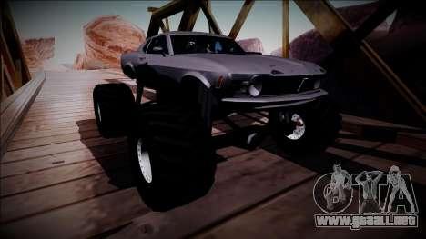 1970 Ford Mustang Boss Monster Truck para visión interna GTA San Andreas