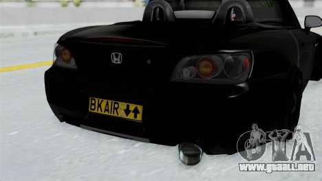 Honda S2000 Berlin Black para GTA San Andreas vista hacia atrás