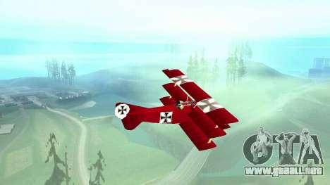Fokker Dr1 triplane para GTA San Andreas vista posterior izquierda