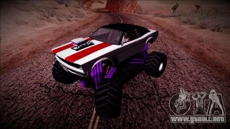 GTA 5 Declasse Tampa Monster Truck para GTA San Andreas vista hacia atrás