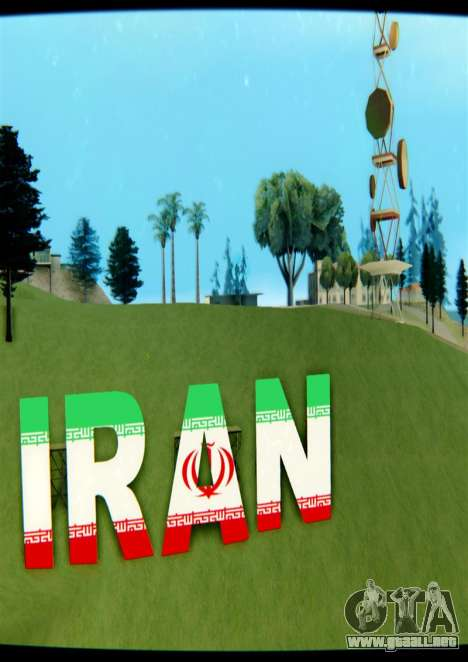 IRÁN es la inscripción Vinewood para GTA San Andreas tercera pantalla