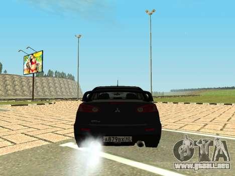 Mitsubishi Lancer Evolution X GVR Tuning para GTA San Andreas vista posterior izquierda