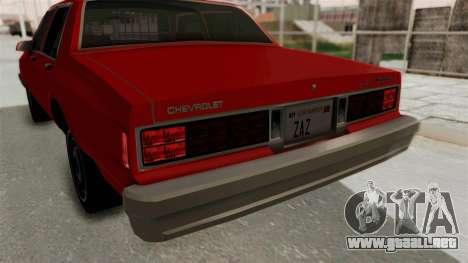 Chevrolet Caprice Classic 1986 v2.0 para vista inferior GTA San Andreas
