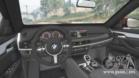 GTA 5 BMW X6 M (F16) v1.6 vista lateral trasera derecha