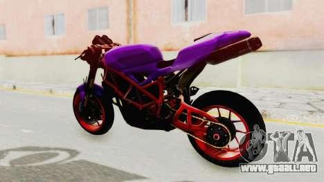 Ducati 1098 Nakedbike para GTA San Andreas vista posterior izquierda