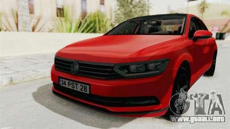 Volkswagen Passat B8 2016 Highline HQLM para la visión correcta GTA San Andreas