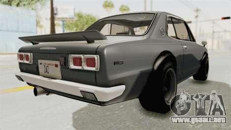 Nissan Skyline KPGC10 1971 para GTA San Andreas vista posterior izquierda