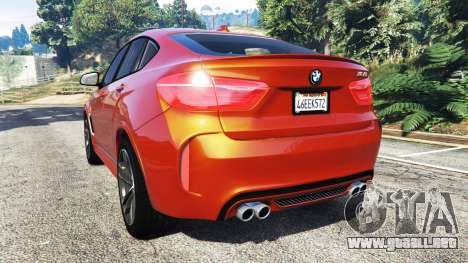 GTA 5 BMW X6 M (F16) v1.6 vista lateral izquierda trasera