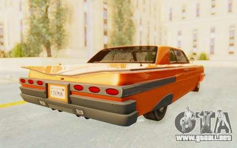 GTA 5 Declasse Voodoo Alternative v1 PJ para GTA San Andreas vista posterior izquierda