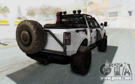 Toyota Hilux Technical MNU para GTA San Andreas left
