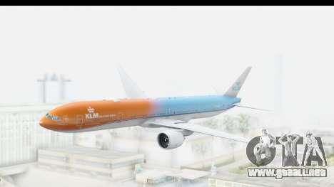 Boeing 777-300ER KLM Orange Pride para GTA San Andreas vista posterior izquierda