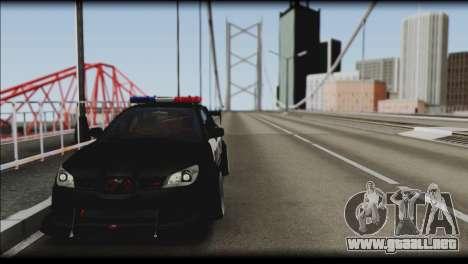 Subaru Impreza WRX STi Police Drift para GTA San Andreas vista posterior izquierda