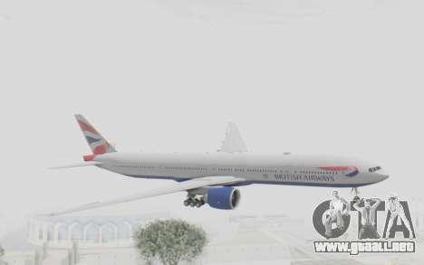 Boeing 777-300ER British Airways para GTA San Andreas vista posterior izquierda