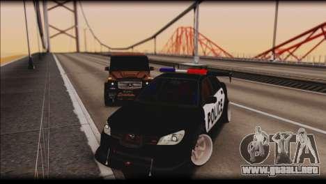 Subaru Impreza WRX STi Police Drift para GTA San Andreas vista hacia atrás