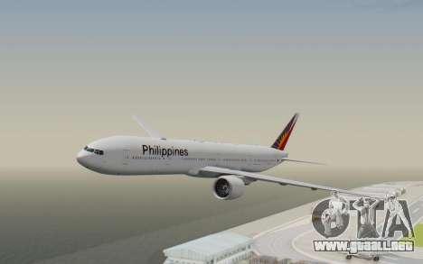 Boeing 777-300ER Philippine Airlines para GTA San Andreas vista posterior izquierda