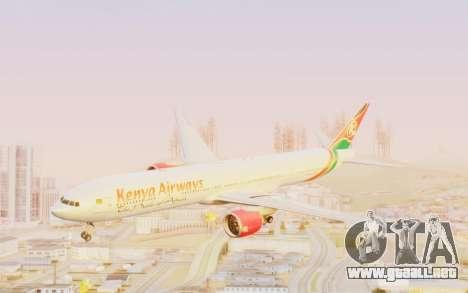 Boeing 777-300ER Kenya Airways para GTA San Andreas vista posterior izquierda