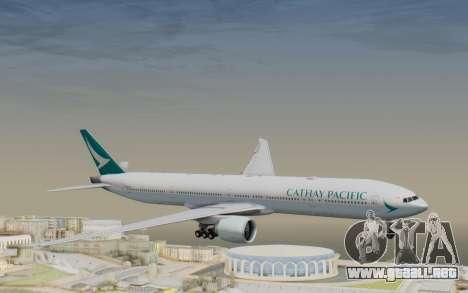 Boeing 777-300ER Cathay Pacific Airways v3 para GTA San Andreas vista posterior izquierda
