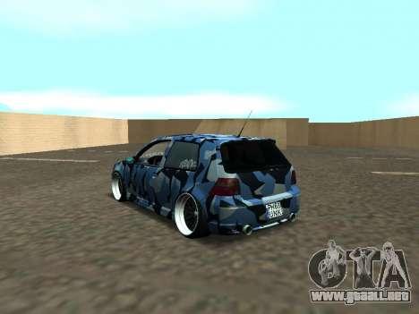 Volkswagen Golf MK4 R32 Postura para GTA San Andreas vista posterior izquierda