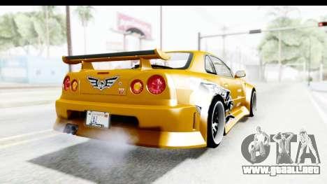 NFSU Eddie Nissan Skyline para GTA San Andreas vista posterior izquierda