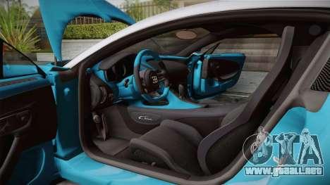 Bugatti Chiron 2017 v2.0 Dubai Plate para GTA San Andreas vista hacia atrás