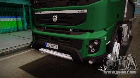 Volvo FMX dump Truck para vista lateral GTA San Andreas