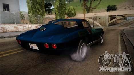Chevrolet Corvette Coupe 1964 para GTA San Andreas vista posterior izquierda