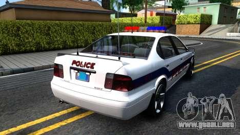 Declasse Merit Metropolitan Police 2005 para GTA San Andreas vista posterior izquierda