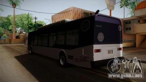 GTA V Transit Bus para GTA San Andreas vista posterior izquierda