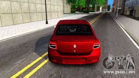 Renault Symbol 2013 para GTA San Andreas vista posterior izquierda
