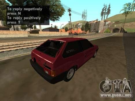 VAZ 2108 BPAN para la visión correcta GTA San Andreas