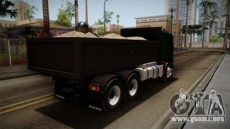 Volvo FMX dump Truck para GTA San Andreas vista posterior izquierda