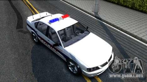 Declasse Merit Metropolitan Police 2005 para la visión correcta GTA San Andreas