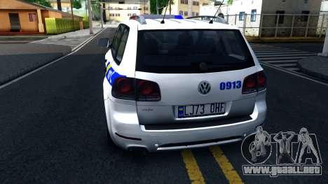 Volkswagen Touareg La Policía De Ucrania para GTA San Andreas vista posterior izquierda