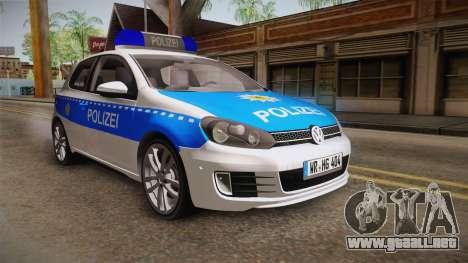 Volkswagen Golf Mk6 Police para GTA San Andreas vista posterior izquierda