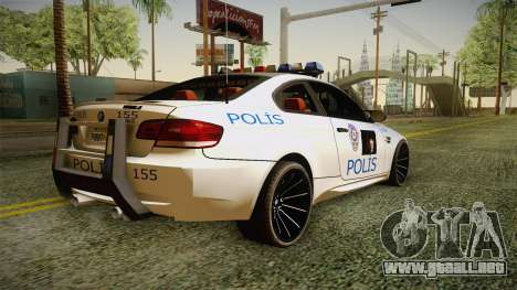 BMW M3 Turkish Police para GTA San Andreas left