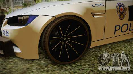 BMW M3 Turkish Police para GTA San Andreas vista hacia atrás