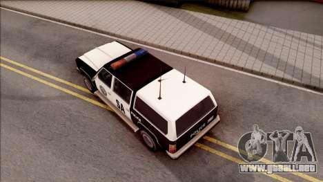 Police Rancher 4 Doors para GTA San Andreas vista hacia atrás