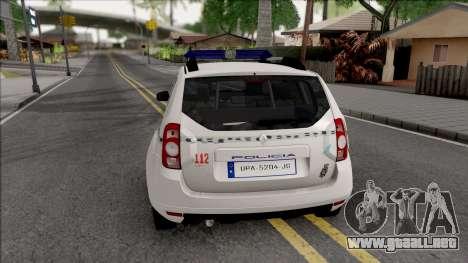 Renault Duster Spanish Police para GTA San Andreas vista posterior izquierda