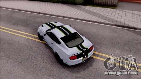 Ford Mustang 2015 Need For Speed Payback Edition para GTA San Andreas vista hacia atrás