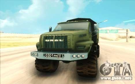 Ural SIGUIENTE Militar para GTA San Andreas vista hacia atrás
