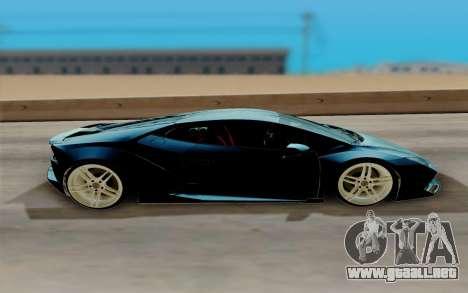 Lamborghini Huracan Custom para GTA San Andreas vista posterior izquierda