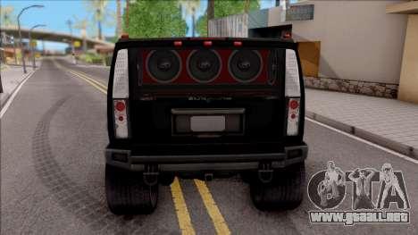 Hummer H2 Batman Edition para GTA San Andreas vista posterior izquierda