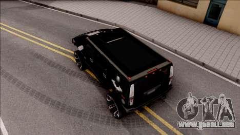 Hummer H2 Batman Edition para GTA San Andreas vista hacia atrás