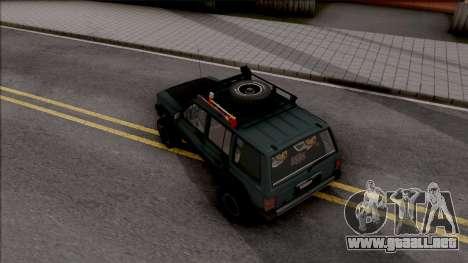 Jeep Cherokee 1984 Off-Road para GTA San Andreas vista hacia atrás