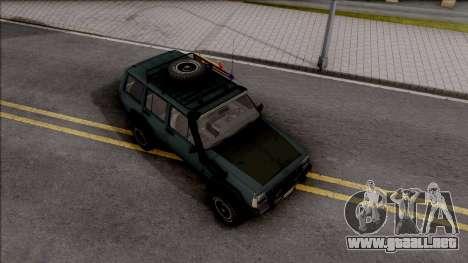 Jeep Cherokee 1984 Off-Road para la visión correcta GTA San Andreas