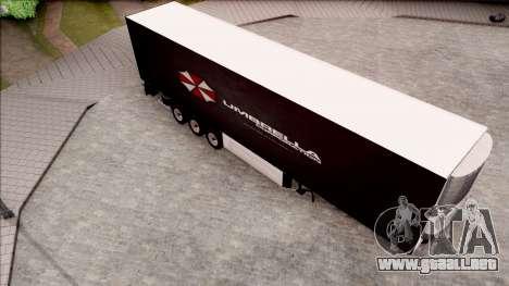 Trailer Biohazard Umbrella Corp. para GTA San Andreas vista posterior izquierda