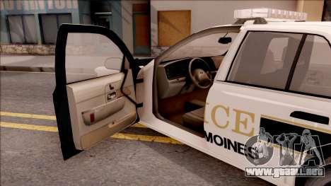 Ford Crown Victoria 2007 West Des Moines PD para visión interna GTA San Andreas