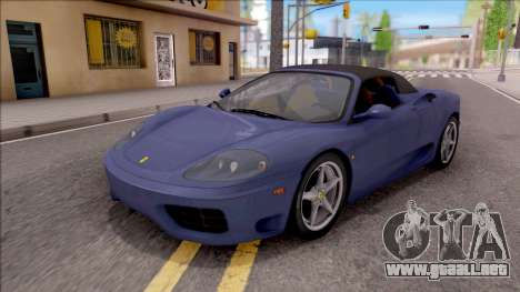 Ferrari 360 Spider US-Spec 2000 HQLM para vista inferior GTA San Andreas