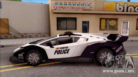 Lamborghini Veneno Police Los Santos para GTA San Andreas left